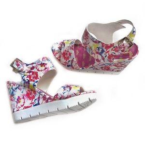 Juicy Couture Floral Platform Wedge Sandals